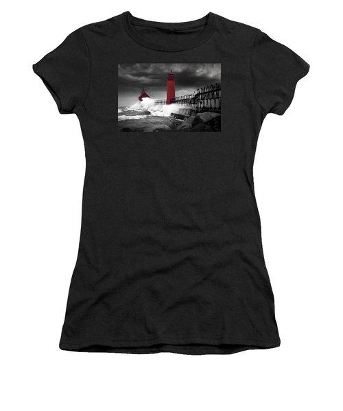 Grand Haven Lighthouse In A Rain Storm Women's T-Shirt