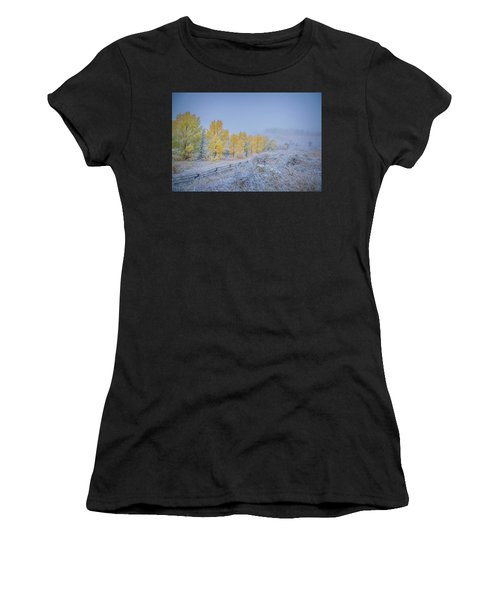 Grand Teton Fall Snowfall Scene Women's T-Shirt