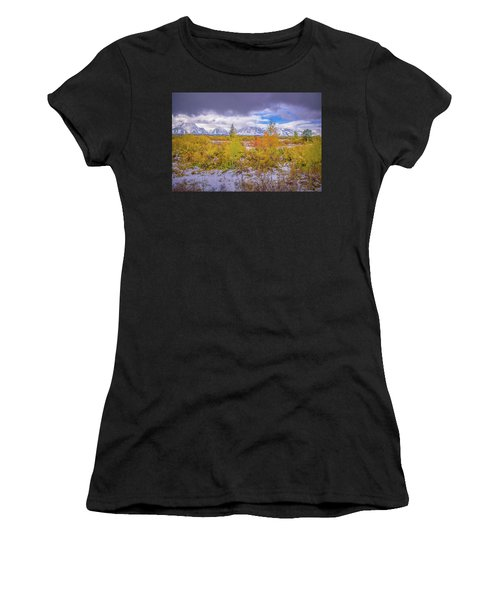 Grand Teton Fall Snowfall Women's T-Shirt (Athletic Fit)
