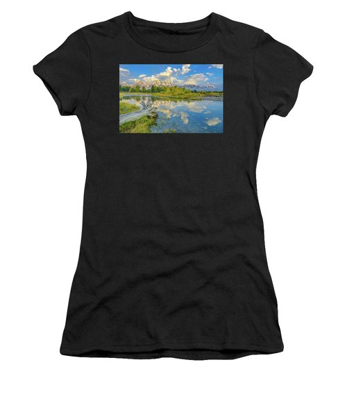 Grand Teton Riverside Morning Reflection Women's T-Shirt (Athletic Fit)