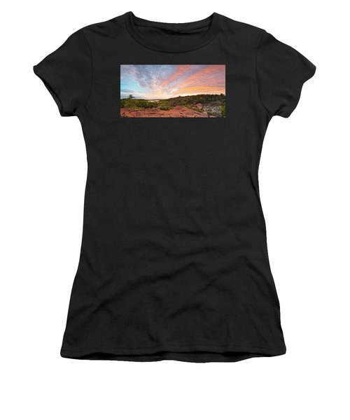 Granite Hills Of Inks Lake State Park Against Fiery Sunset - Burnet County Texas Hill Country Women's T-Shirt