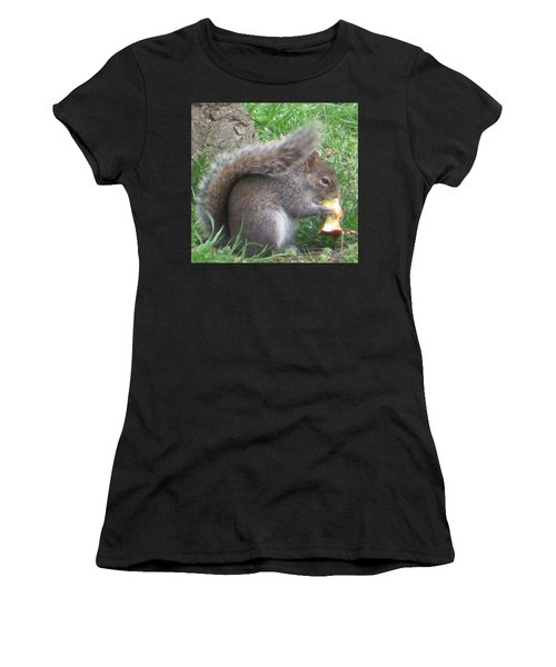 Gray Squirrel With An Apple Core Women's T-Shirt