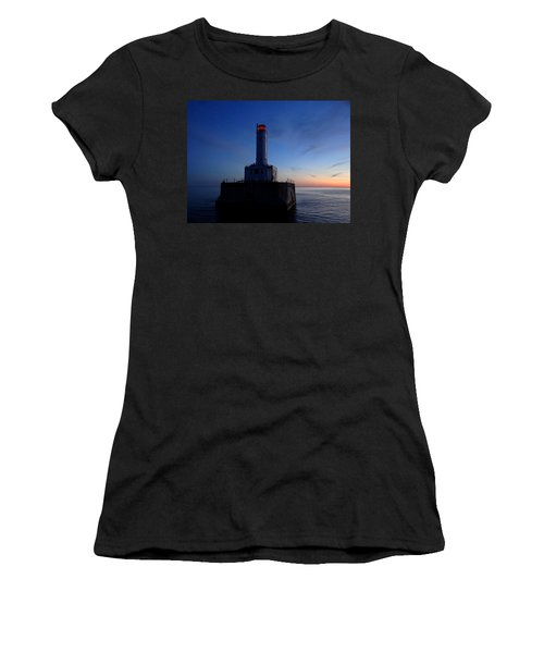 Grays Reef Lighthouse At Dusk Women's T-Shirt (Junior Cut) by Keith Stokes