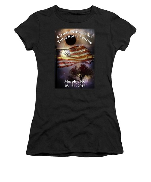 Great American Eclipse American Flag T Shirt Art Women's T-Shirt (Athletic Fit)