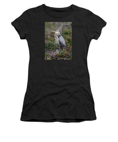 Great Blue Heron And Nestling Women's T-Shirt