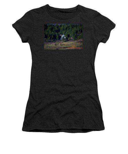 Great Blue Heron In Flight Women's T-Shirt