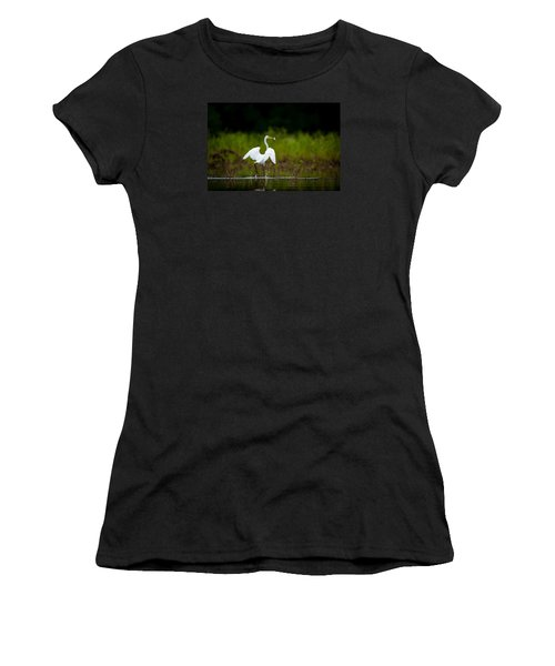 Great Egret, Great Fisherman Women's T-Shirt (Athletic Fit)