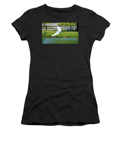 Great Egret In A Left Banking Turn - Digitalart Women's T-Shirt (Athletic Fit)