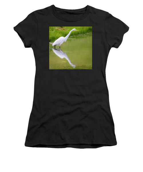 Women's T-Shirt (Athletic Fit) featuring the photograph Great Egret Ready To Pounce by Ricky L Jones