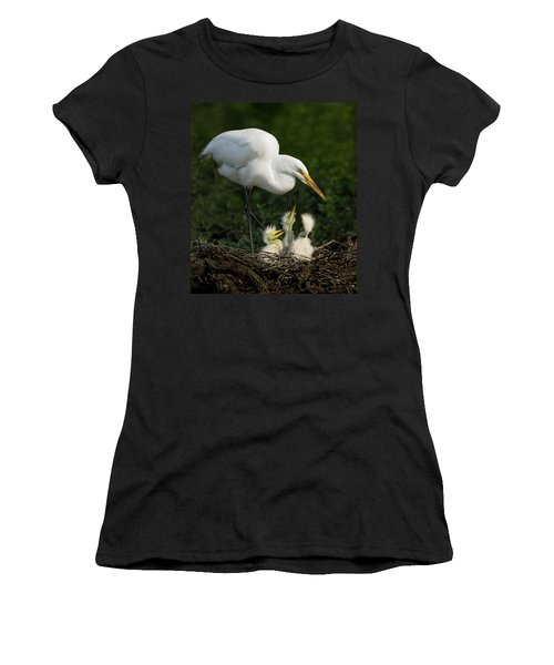 Great Egret With Chicks Women's T-Shirt