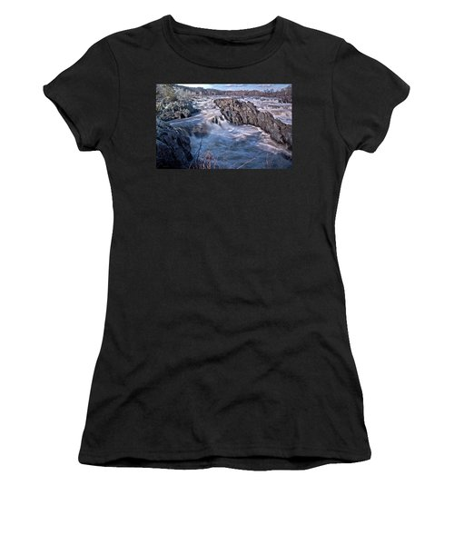 Women's T-Shirt (Junior Cut) featuring the photograph Great Falls Virginia by Suzanne Stout
