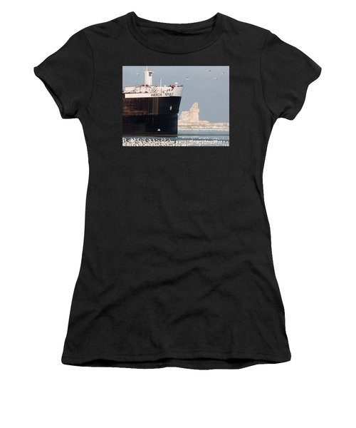 Great Lakes Ship Passing A Frozen Cleveland Lighthouse Women's T-Shirt