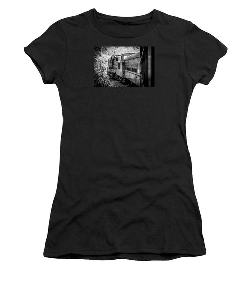 Great Smokey Mountain Railroad Looking Out At The Train In Black And White Women's T-Shirt (Junior Cut) by Kelly Hazel