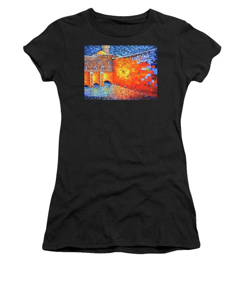 Women's T-Shirt (Athletic Fit) featuring the painting Wailing Wall Greatness In The Evening Jerusalem Palette Knife Painting by Georgeta Blanaru