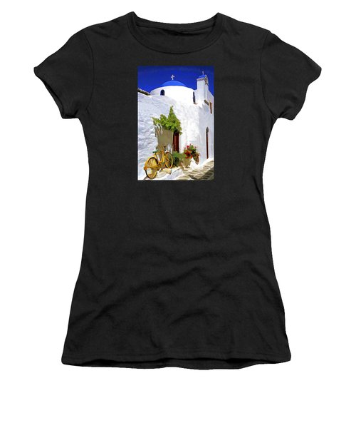 Greek Church With Bike Women's T-Shirt (Athletic Fit)