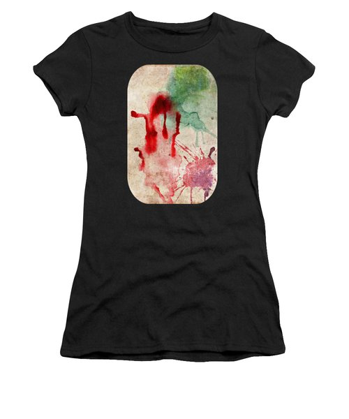 Green And Red Color Splash Women's T-Shirt (Athletic Fit)