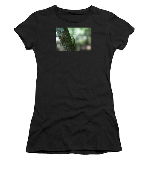 Green Anole Women's T-Shirt (Junior Cut) by Christopher L Thomley