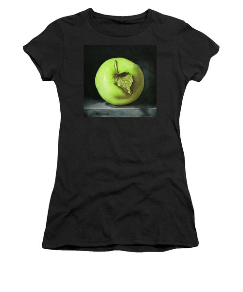Green Apple With Leaf Women's T-Shirt (Athletic Fit)