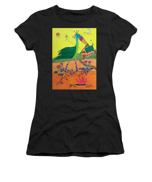 Green Crane With Leggings And Painted Toes Women's T-Shirt (Athletic Fit)