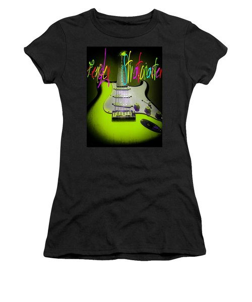 Women's T-Shirt (Athletic Fit) featuring the photograph Green Fender Stratocaster  by Guitar Wacky