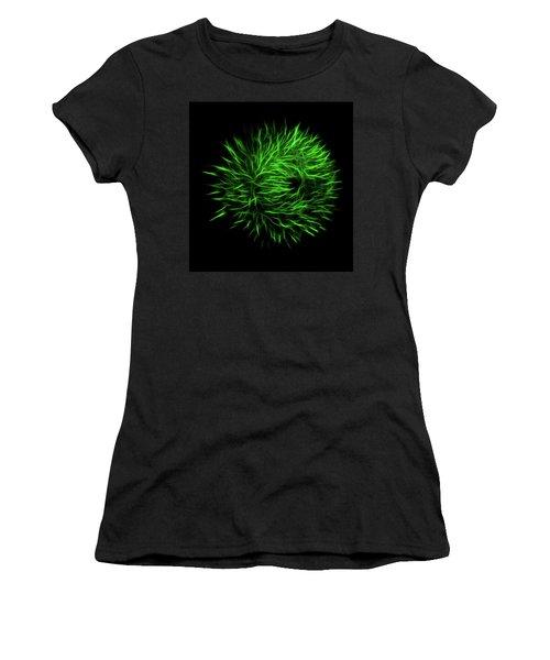 Green Flower Burst Women's T-Shirt (Athletic Fit)