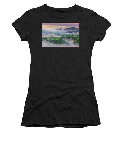 Green Hills And Fog At Sunrise Women's T-Shirt