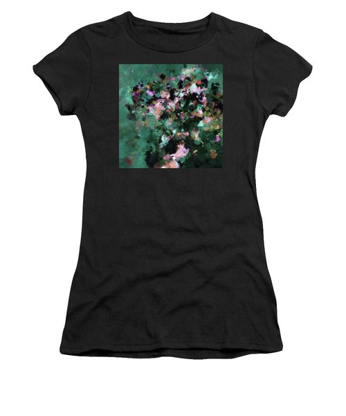Women's T-Shirt (Junior Cut) featuring the painting Green Landscape Painting In Minimalist And Abstract Style by Ayse Deniz