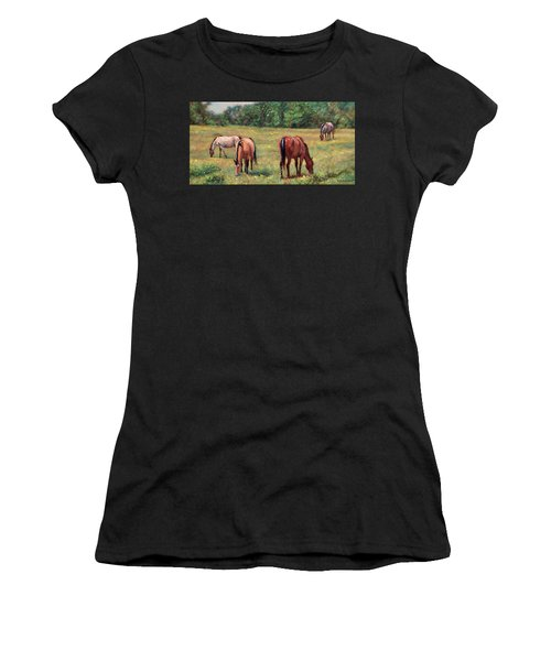 Green Pastures - Horses Grazing In A Field Women's T-Shirt (Athletic Fit)