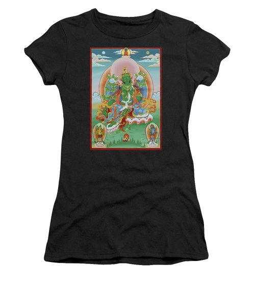 Green Tara With Retinue Women's T-Shirt (Athletic Fit)