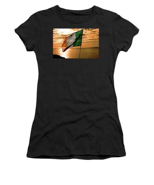 Flag Of Ireland At The Cliffs Of Moher Women's T-Shirt
