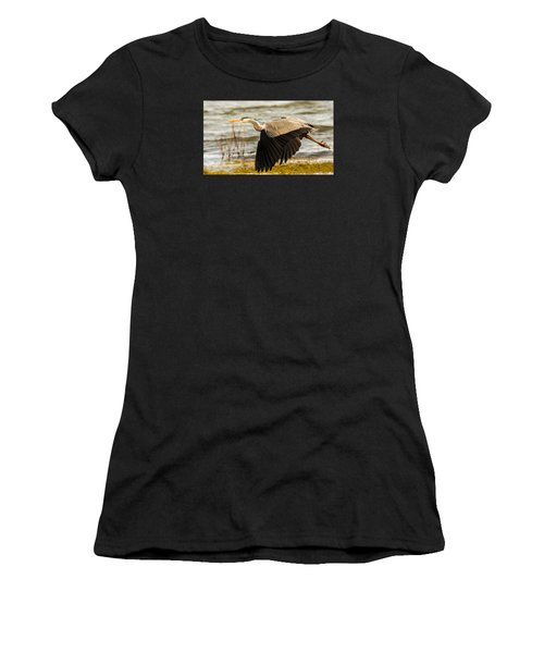 Grey Heron In Flight Women's T-Shirt (Athletic Fit)