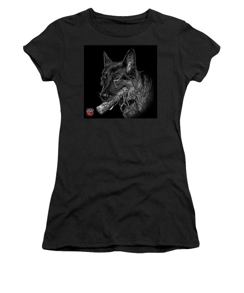 Greyscale German Shepherd And Toy - 0745 F Women's T-Shirt