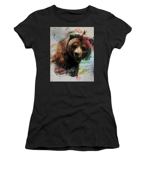 Grizzly Bear Art Women's T-Shirt (Athletic Fit)