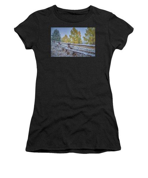 Gros Ventre Grand Teton Fall Snowfall Fence Women's T-Shirt