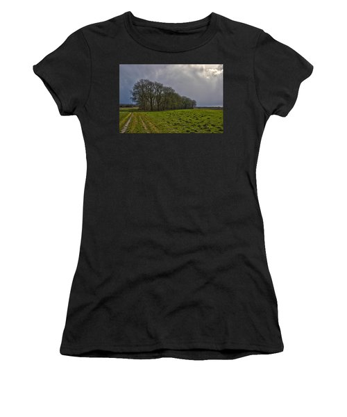 Group Of Trees Against A Dark Sky Women's T-Shirt (Athletic Fit)