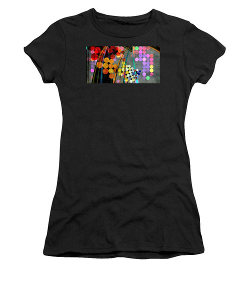Women's T-Shirt (Athletic Fit) featuring the digital art Grunge City Lights by Fran Riley