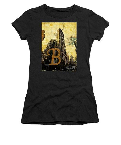 Grungy Melbourne Australia Alphabet Series Letter B Central Busi Women's T-Shirt (Athletic Fit)