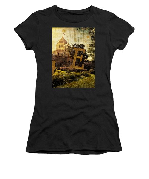 Grungy Melbourne Australia Alphabet Series Letter E Royal Exhibi Women's T-Shirt