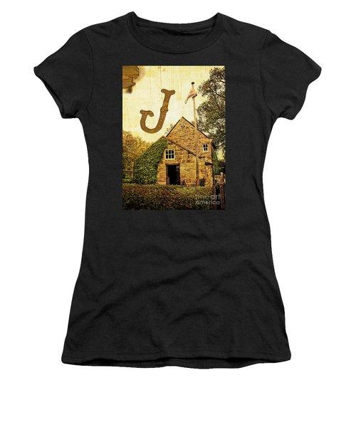 Grungy Melbourne Australia Alphabet Series Letter J Captain Jame Women's T-Shirt (Athletic Fit)