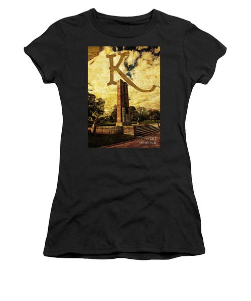 Grungy Melbourne Australia Alphabet Series Letter K Kings Domain Women's T-Shirt