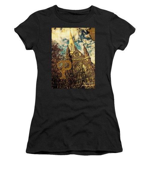 Grungy Melbourne Australia Alphabet Series Letter Letter P St Pa Women's T-Shirt (Athletic Fit)