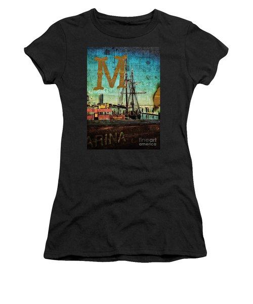 Grungy Melbourne Australia Alphabet Series Letter M Marina Dockl Women's T-Shirt (Athletic Fit)