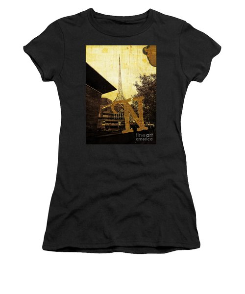 Grungy Melbourne Australia Alphabet Series Letter N National Gal Women's T-Shirt