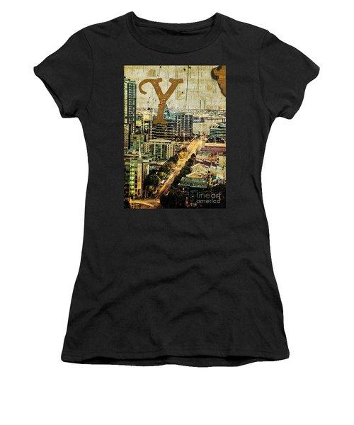 Grungy Melbourne Australia Alphabet Series Letter Y Yarra River Women's T-Shirt