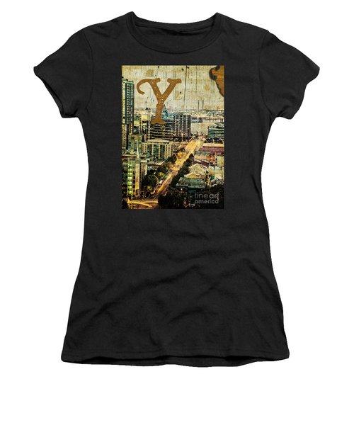 Grungy Melbourne Australia Alphabet Series Letter Y Yarra River Women's T-Shirt (Athletic Fit)