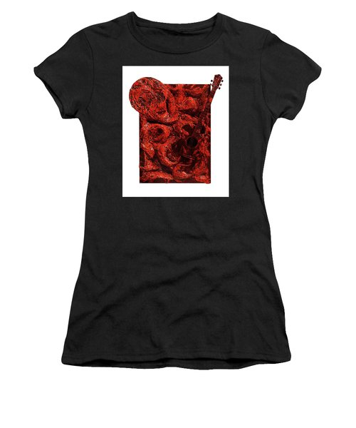 Guitar, Record, Red Women's T-Shirt (Athletic Fit)