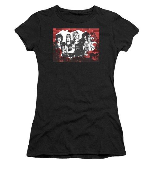 Women's T-Shirt featuring the mixed media Guns N Roses Graffiti Tribute by Dan Sproul