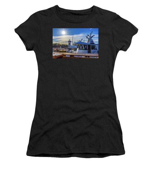 Women's T-Shirt featuring the photograph Habour Town Lighthouse And Marina by Randy Bayne