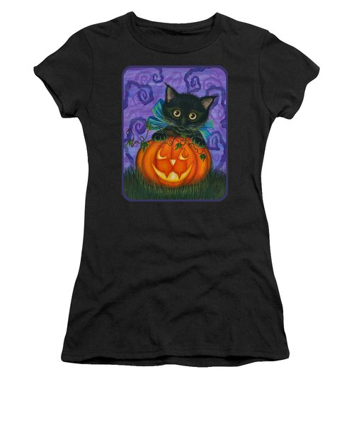 Halloween Black Kitty - Cat And Jackolantern Women's T-Shirt