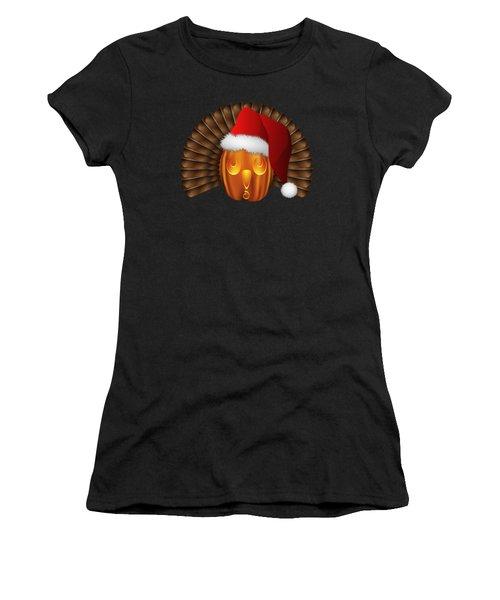 Hallowgivingmas Santa Turkey Pumpkin Women's T-Shirt (Athletic Fit)